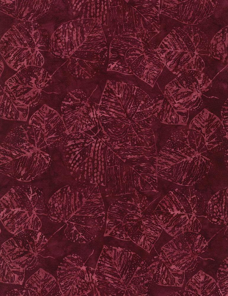 Tonga - Fossil Leaf Batik: Ruby
