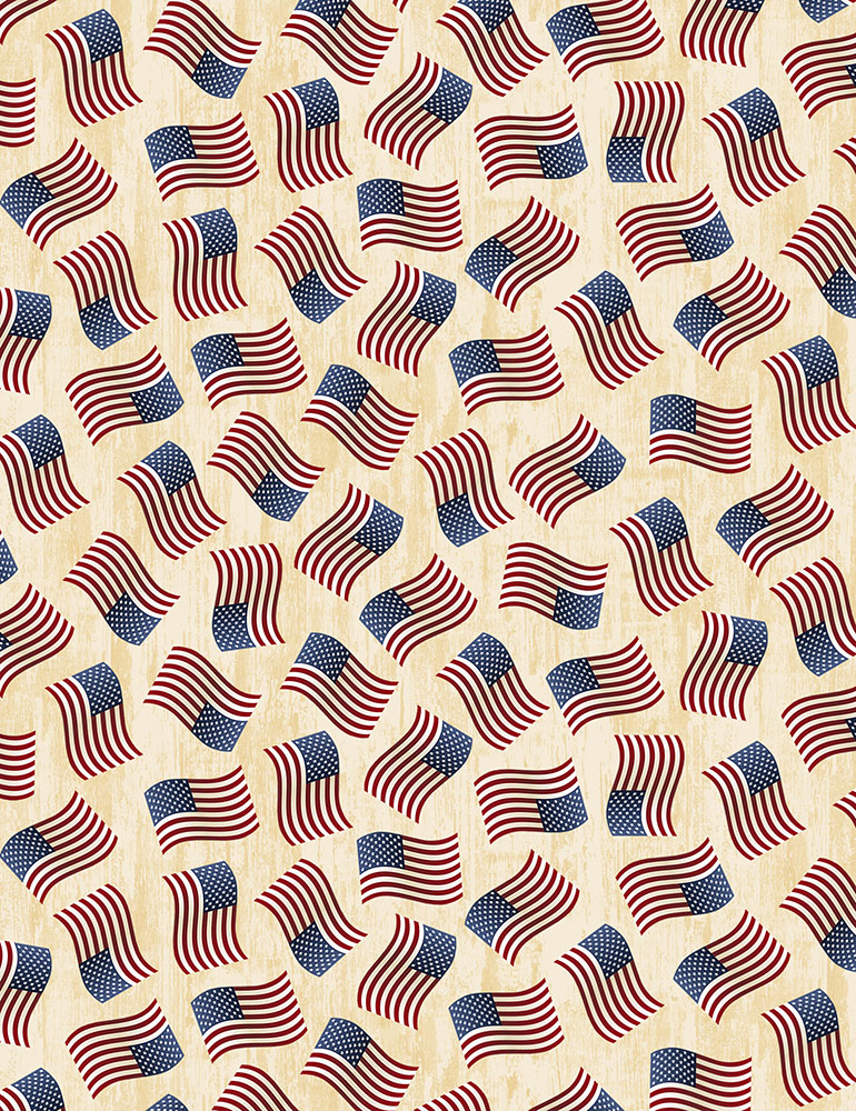 Tossed American Flags