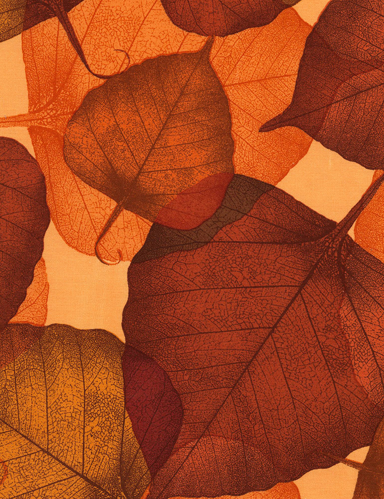 80x110 of Leaves - #C1053-Russet - LAST CHANCE