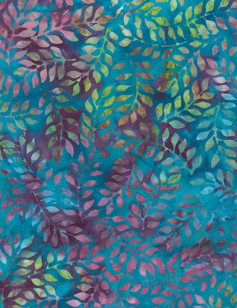 TT- 106 Wide Batik Blue/Multi Leaves
