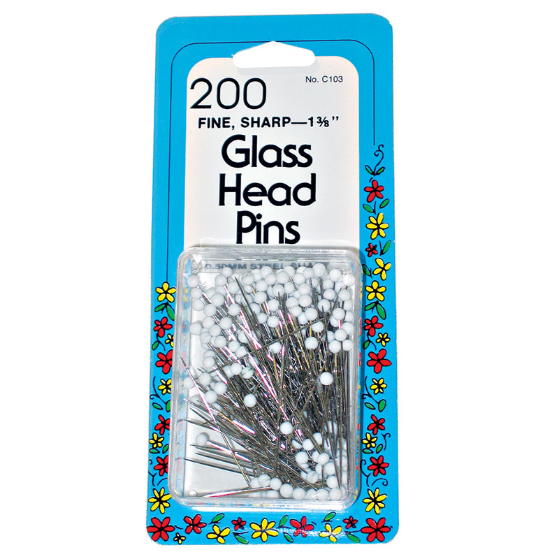 Glass Head Pins 1 3/8 200ct Wh