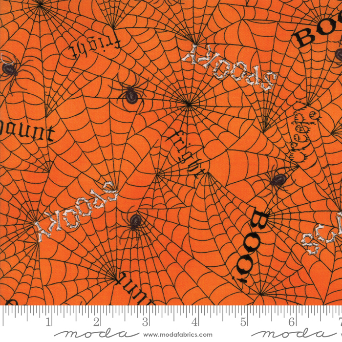 Moda Bewitching 19842-14 Pumpkin Orange w/black webs & words