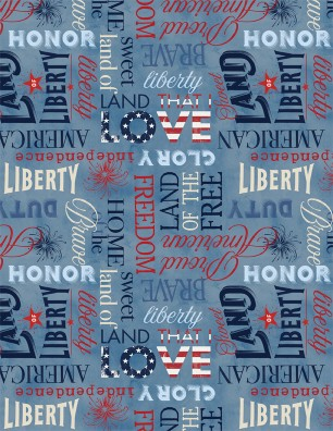 American Valor Words on Light Blue 84431-430