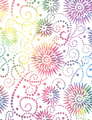 108 Flower Burst Multi color on white