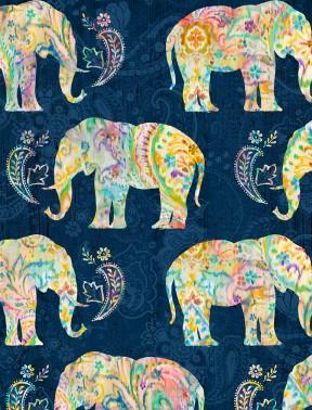 Bohemian Dreams Navy Elephants
