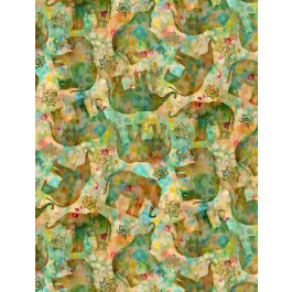 Bohemian Dreams Gold/Green Tossed Elephants