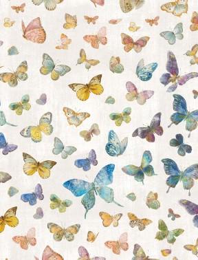 Wilmington Prints Butterfly Haven 89203-945 Butterflies on Light Gray