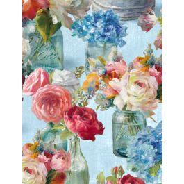 Wilmington Flower Market Floral - Blue (Min order 1m)