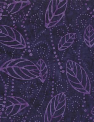 Floating Leaves Dark Purple Batik