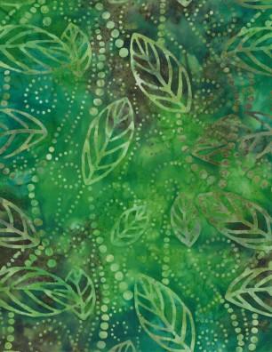 Floating Leaves Green/Brown Batik