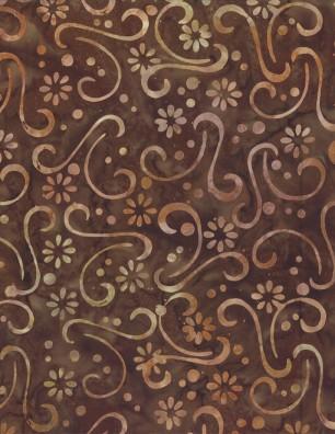 Batik Brown flower swirl