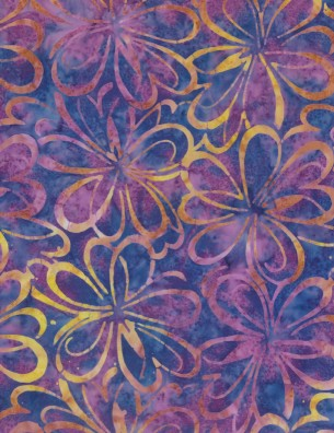 22202-684 Purp/Yellow Graphic Floral Wilmington Batiks