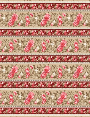 Wilmington Rhapsody in Reds BORDER PRINT (0.7m remnant)