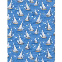 Harbor Lights Sailboats Blue