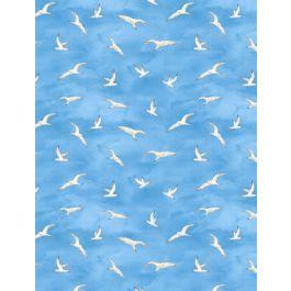 Harbor Lights Seagulls Blue