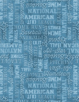 7th Inning Stretch Blue Baseball Allover Words