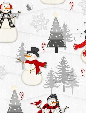 Snow Wishes - Snowmen on Lt. Grey
