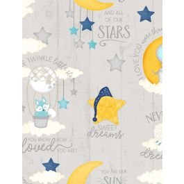 All Our Stars Lt. Grey with Moon and Stars