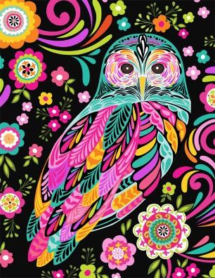 Feathers & Foliage Black Owl & Flowers
