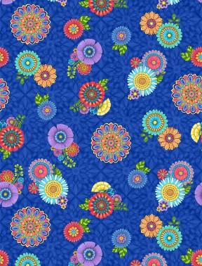 Blue Tossed Flowers