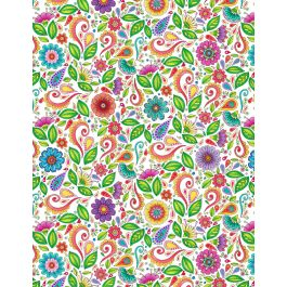 Rainbow Flight 77644 175 Small Floral & Scroll White