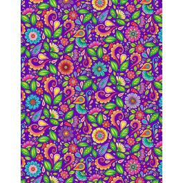 Small Floral and Scroll Purple from the Rainbow Flight by Hello Angel Collection