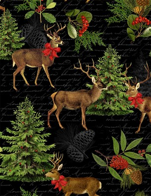 Multi Festive Forest BlackLarge All Over