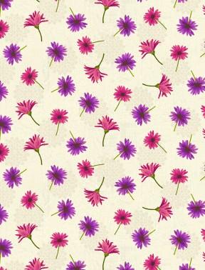 Floral Serenade - Small Floral, Cream - by Wilmington Prints