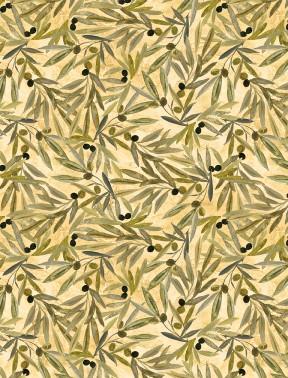 Tuscan Delight - Olive Leaf on Cream
