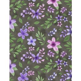 Wilmington Amethyst Magic Flowers and Leaves - Grey