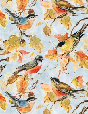 Wilmington Forest Dance Birds and Leaves - Blue (Min order 1m)
