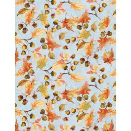 Forest Dance 39613 437 Tossed Leaves Blue