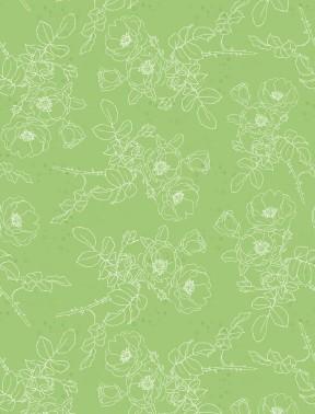 Wilmington Painting Paris Toile Flowers - Green (0.8m remnant)