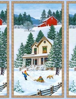 BRINGING HOME CHRISTMAS PANEL WINTER SCENE 68812-417