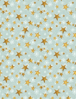 FRIENDLY GATHERING 96423 451 LIGHT GREEN, GOLD STARS TOSSED