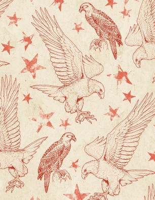 Land of Liberty Red Eagles on Cream