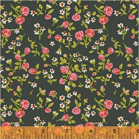 mousies floral in dark green