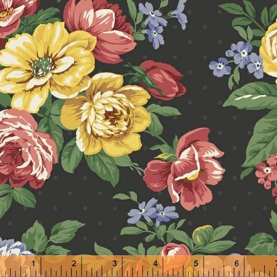 Pemberley Flannel-Floral on black