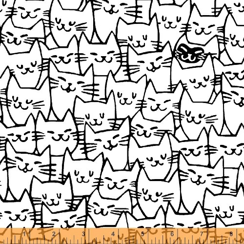 Cat Happy  white w/black faces