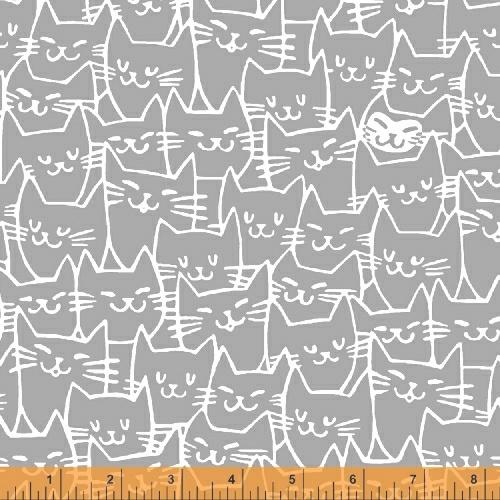 Cat Happy  Gray w/cat faces
