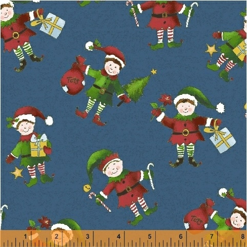 Holly Jolly Christmas Elf's on blue  51169-3