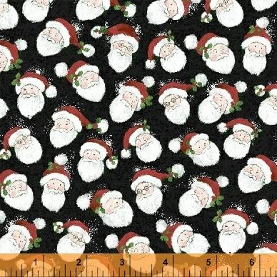 Holly Jolly Christmas Santa Face on Black 51170-4