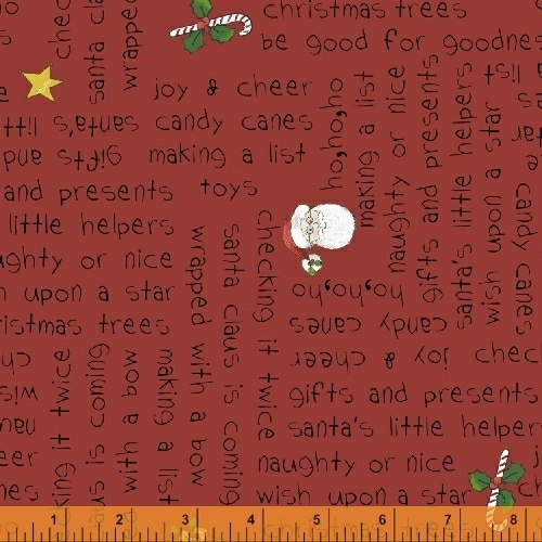 Holly Jolly Christmas Words on Red  51172-5