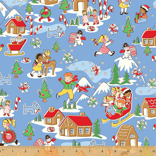 Candy Cane Lane Main Print on Blue  51252-2