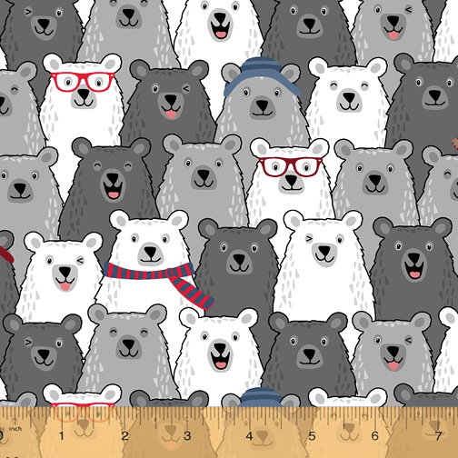 Cubby Bear Flannel black, grey and white bears with scarves and hats