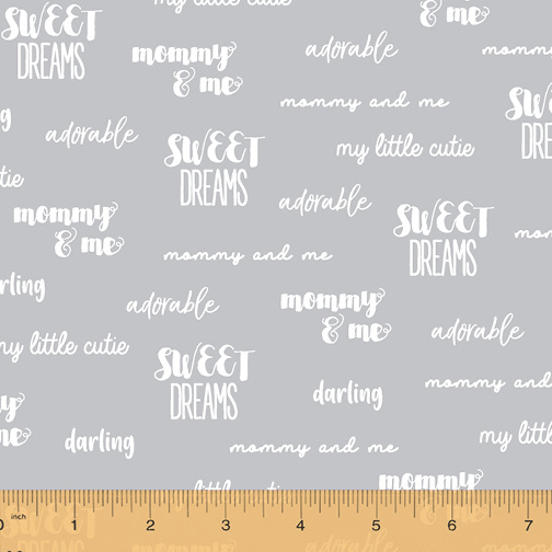 Cubby Bear Flannelgrey with white words