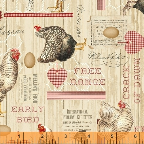 Early Bird - Tan Collage 51397-1 - by Whistler Studios for Windham Fabrics
