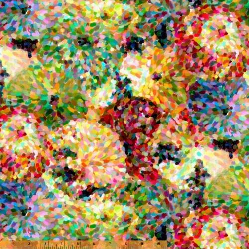 Multi Impressionist Floral 108in