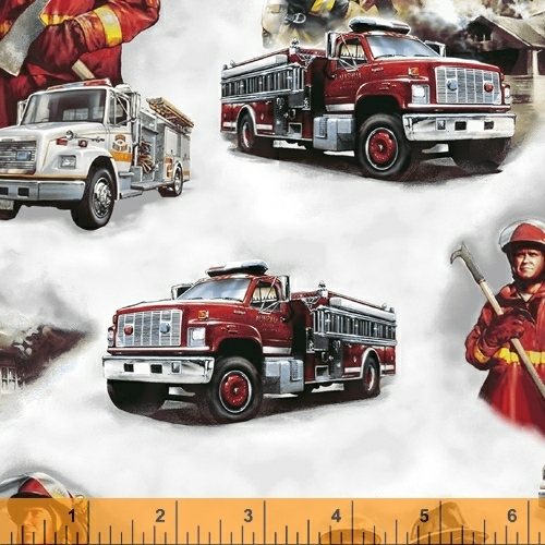 Hold the Line Firemen and Trucks on White - fabric by the yard