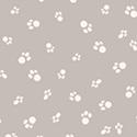 Catnip Cat Paws White on Gray 50825-6